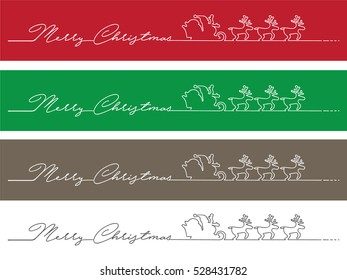Minimalist Christmas banner made of with a single line