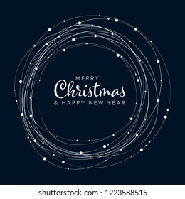 Minimalist Christmas flyer  card temlate with white snowflakes on dark background