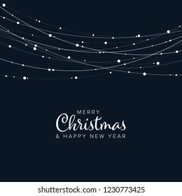Minimalist Christmas flyer  card temlate with white abstract lights  on dark background