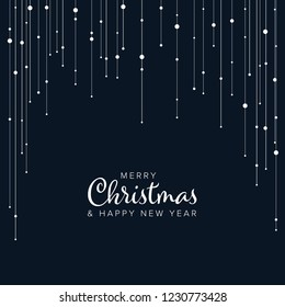 Minimalist Christmas flyer  card temlate with white abstract lights on vertical lines