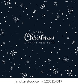 Minimalist Christmas flyer  card temlate with white abstract snow flakes on dark background