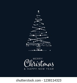 Minimalist Christmas flyer  card temlate with abstract christmas tree on a dark blue background