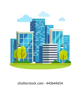 Minimalist city downtown landscape with skyscrapers. Flat style vector illustration isolated on white background.