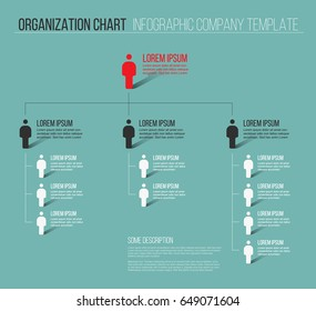 Minimalist company organization hierarchy 3d chart template - teal version
