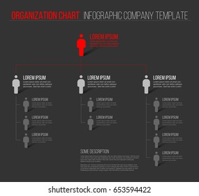 Minimalist company organization hierarchy 3d chart template - dark gray version