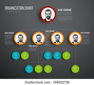 Minimalist company organization hierarchy chart template - dark version with photos