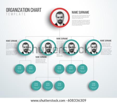 Minimalist company organization hierarchy chart template stock minimalist company organization hierarchy chart template light red and teal version with photos maxwellsz