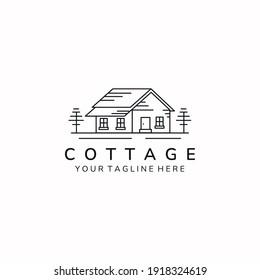 minimalist cottage home simple line art icon logo template vector illustration design