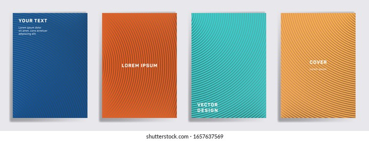 Minimalist covers linear design. Radial semicircle geometric lines patterns. Abstract backgrounds for notepads, notice paper covers. Lines texture, header title elements. Annual report covers.