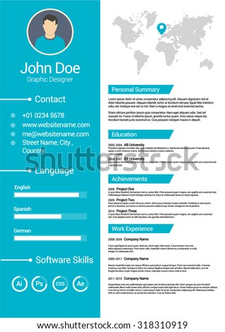 minimalist cv curriculum vitae resume vector のベクター画像素材