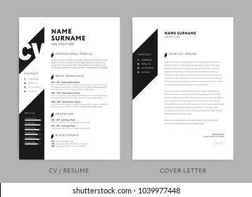 Cv images stock photos vectors shutterstock minimalist cv resume and cover letter minimal design black and white background vector yelopaper Images