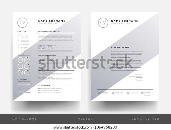 Minimalist Cv Resume Letterhead Creative Person Stock Vector
