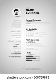 Minimalist CV, resume template with simple design, vector