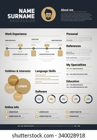 Minimalist CV, resume template with simple design, gold color vector
