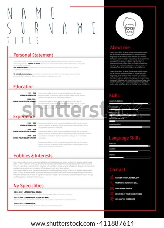 minimalist cv resume template simple design stock vector royalty