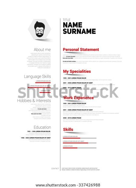 Minimalist Cv Resume Template Simple Design Stock ...