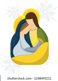 Minimalist design of the birth of jesus, with theme of the holidays, decoration, card. etc.