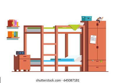Minimalist design dormitory room interior with bunk bed, bedside table and wooden wardrobe. Teenager kid bedroom decoration & furniture. Flat style vector illustration isolated on white background.