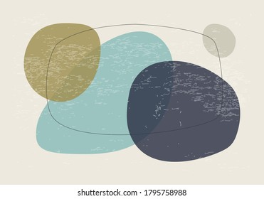 Minimalist design horizontal background with abstract organic shapes composition in trendy contemporary collage style, can be used for wall art decoration, card, cover, banner, desktop wallpaper etc