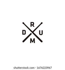 Minimalist drum stick cross x logo design emblem vector ilustration
