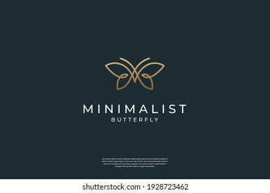 Minimalist elegant Butterfly logo design with liner