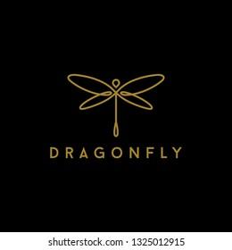Minimalist elegant Dragonfly Line Art logo Design