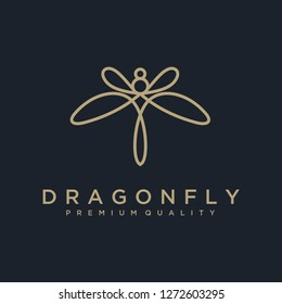 Minimalist elegant Dragonfly logo design with line art style. Luxury Logotype concept icon. Vector Illustration
