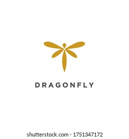 Minimalist elegant dragonfly wings logo design with modern simple style.