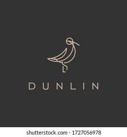 Minimalist elegant Dunlin Bird logo design with line art style