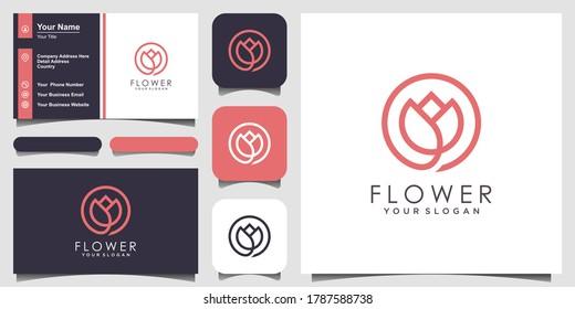 Minimalist elegant flower rose beauty with line art style. logo use cosmetics, yoga and spa logo design inspiration. set of logo and business card design