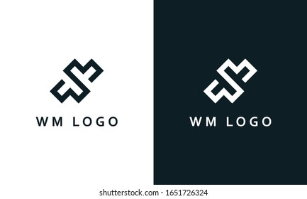 Minimalist elegant line art letter WM logo. This logo icon incorporate with two letter W and M in the creative way.