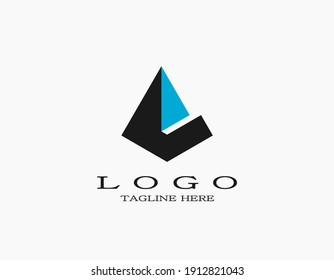 Minimalist elegant logo with pyramid forming the letter e. Design logo with a blue triangle. Creative logo template vector illustration.