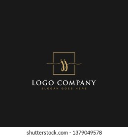 Minimalist elegant luxurious handwritten Initials letters JJ linked inside square line box vector logo designs inspirations in gold colors for brand, hotel, boutique, jewelry, restaurant or company