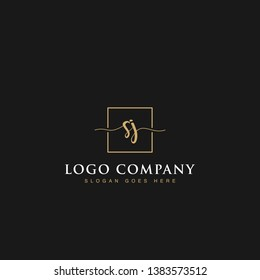 Minimalist elegant luxurious handwritten Initials letters SJ linked inside square line box vector logo designs inspirations in gold colors for brand, hotel, boutique, jewelry, restaurant or company