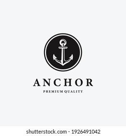 Minimalist Emblem Anchor Ship Nautical Maritime Logo, Design Illustration of Navigation Drop Anchor Point
