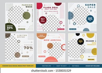 Minimalist Fashion Sale social media post Circle design template Premium Vector