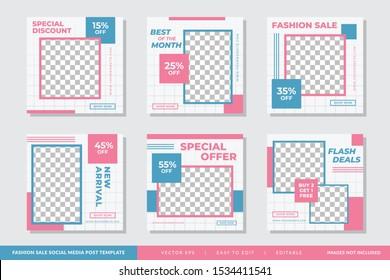 Minimalist Fashion Sale social media post Geometric design template Premium Vector