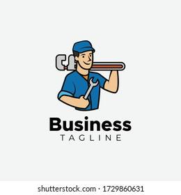 Minimalist flat design handyman logo design vector template