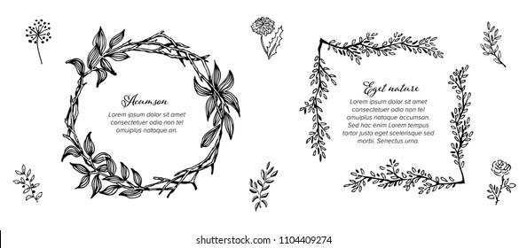 Minimalist floral frames template collection made from simple flowers and leafs