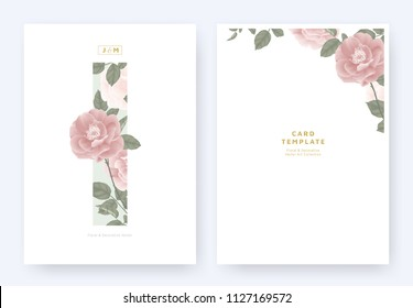 Minimalist floral invitation card template design, pink roses and leaves in blue rectangle on white background, pastel theme