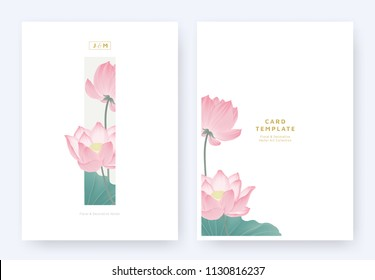 Minimalist floral invitation card template design, pink lotus flowers and leaves in light grey rectangle on white background, pastel vintage theme