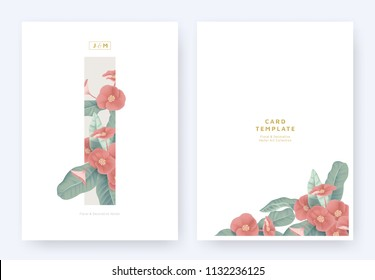 Minimalist floral invitation card template design, red Euphorbia milii flowers and leaves in light brown rectangle on white background, pastel vintage theme