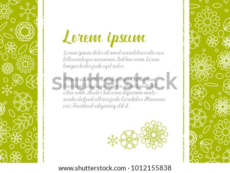 minimalist floral love letter template with simple flowers made from basic shapes on the background