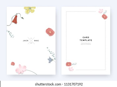 Minimalist floral wedding invitation card template design, Euphorbia milii, Dendrobium, orchid, Platycodon and leaves with shadow on white background, pastel vintage theme