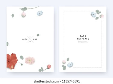 Minimalist floral wedding invitation card template design, hibiscus, Nemophila, orchid, rose, anemone and leaves with shadow on white background, pastel vintage theme