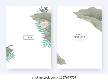 Minimalist floral wedding invitation card template design, tropical plants and pink anemone flowers on white background, pastel vintage style