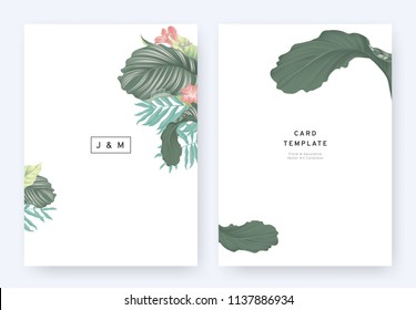 Minimalist floral wedding invitation card template design, tropical plants and red freesia flowers on white background, pastel vintage style
