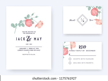 Minimalist floral wedding invitation card template design, pink rose flowers with leaves on white, pastel vintage theme
