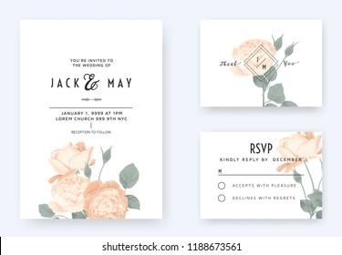 Minimalist floral wedding invitation card template design, orange rose flowers with leaves on white, pastel vintage theme