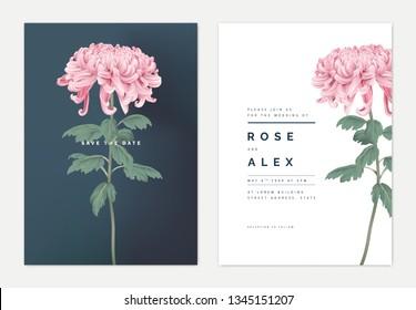 Minimalist floral wedding invitation card template design, pink Chrysanthemum morifolium flower with leaves, vintage theme
